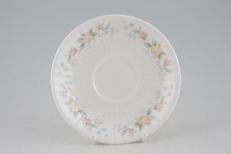 Hammersley - Fluted - Pink + Yellow Flowers - Tea Saucer