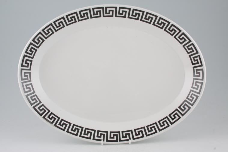 Portmeirion - Greek Key - White + Black - Oval Plate / Platter