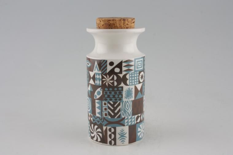 Portmeirion - Tivoli - Blue + Brown - Storage Jar + Lid - Size represents height. Cork stopper
